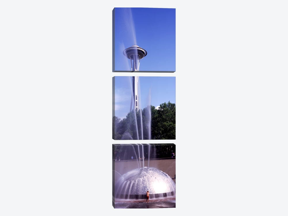 Fountain with a tower in the background, Space Needle, Seattle, King County, Washington State, USA by Panoramic Images 3-piece Canvas Art