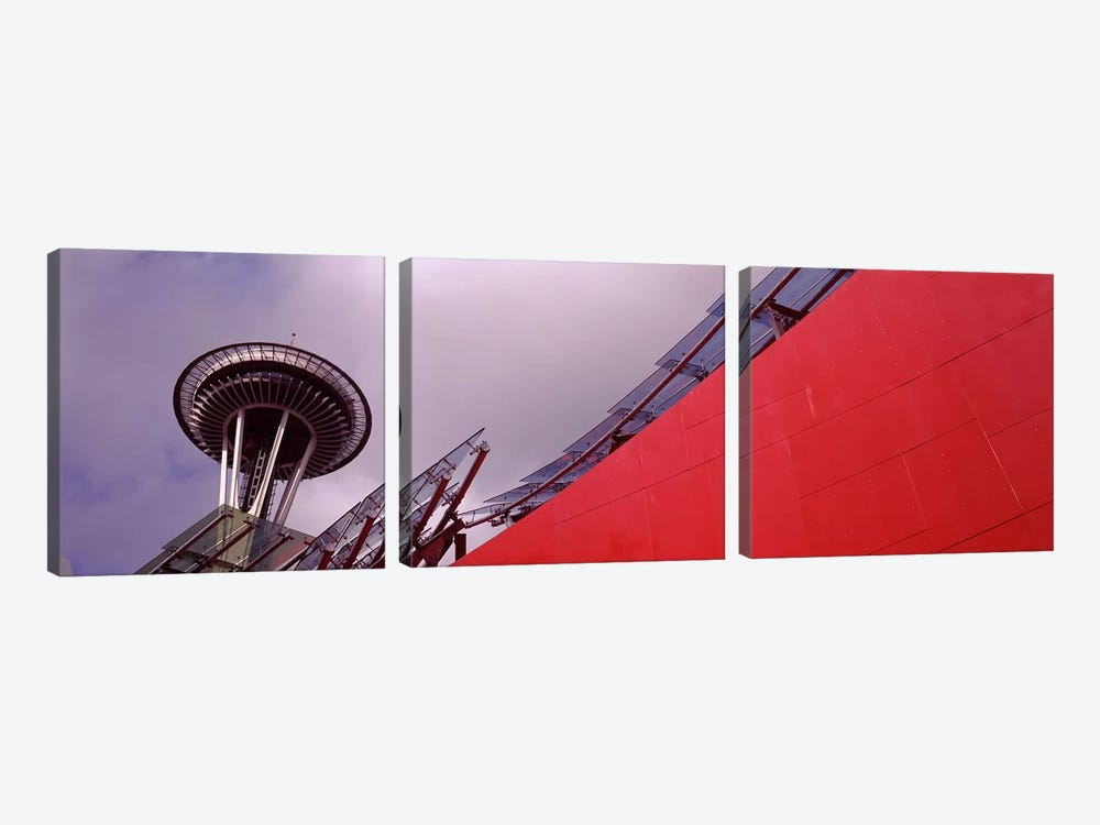 Low angle view of a tower, Space Needle, Seattle, King County, Washington State, USA by Panoramic Images 3-piece Canvas Print