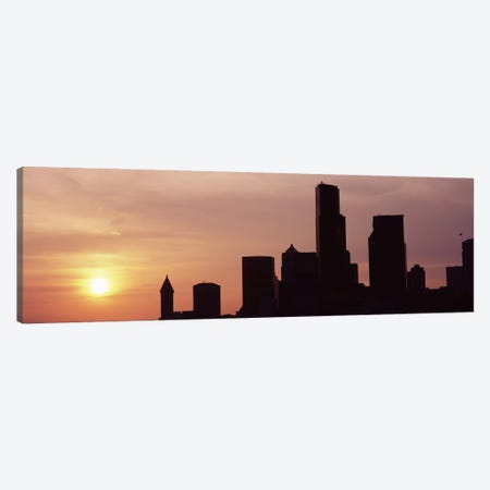 Silhouette of buildings at dusk, Seattle, King County, Washington State, USA #5 Canvas Print #PIM8531} by Panoramic Images Canvas Print