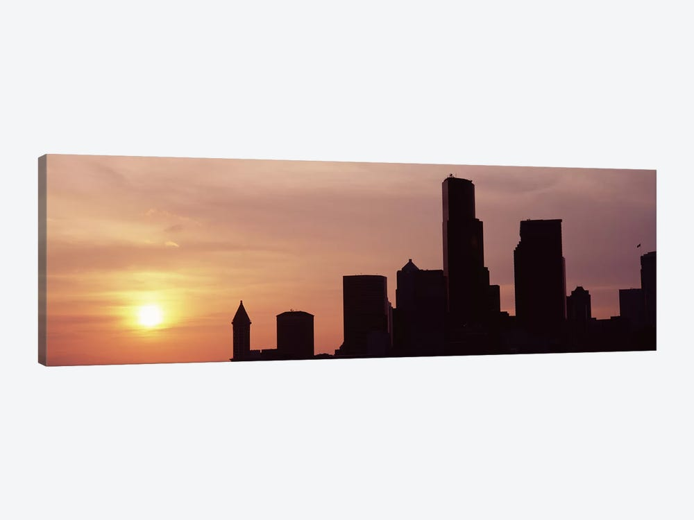 Silhouette of buildings at dusk, Seattle, King County, Washington State, USA #5 by Panoramic Images 1-piece Canvas Print