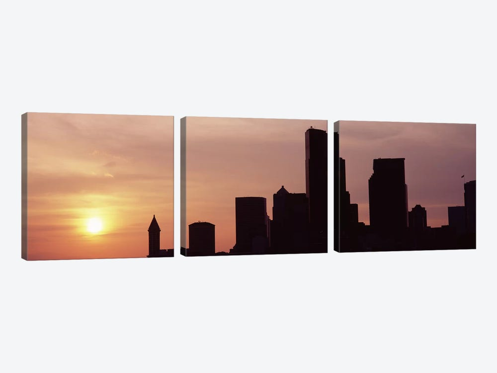 Silhouette of buildings at dusk, Seattle, King County, Washington State, USA #5 by Panoramic Images 3-piece Art Print