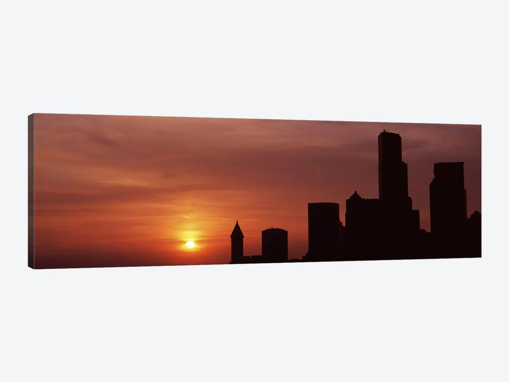 Silhouette of buildings at dusk, Seattle, King County, Washington State, USA #6 by Panoramic Images 1-piece Canvas Artwork