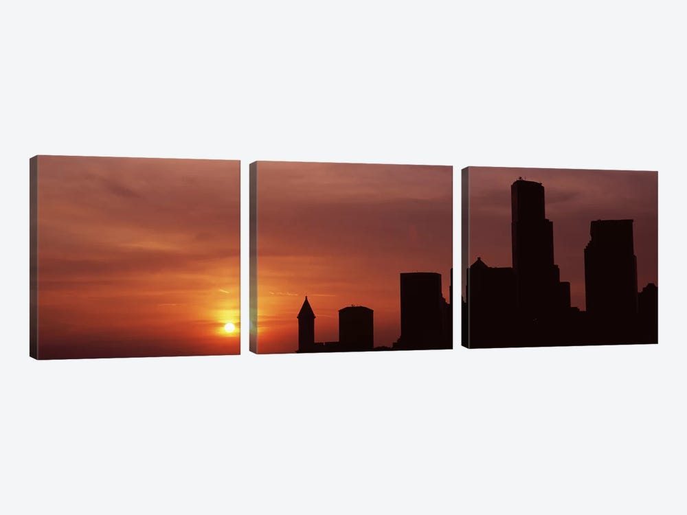 Silhouette of buildings at dusk, Seattle, King County, Washington State, USA #6 by Panoramic Images 3-piece Canvas Art