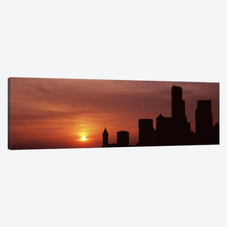 Silhouette of buildings at dusk, Seattle, King County, Washington State, USA #6 Canvas Print #PIM8532} by Panoramic Images Art Print