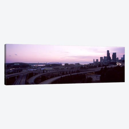 City at sunset, Seattle, King County, Washington State, USA Canvas Print #PIM8533} by Panoramic Images Canvas Art Print