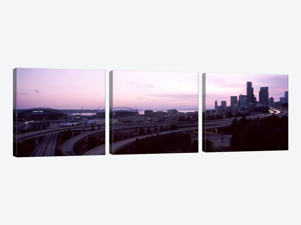 City at sunset, Seattle, King County, Washington State, USA by Panoramic Images 3-piece Art Print