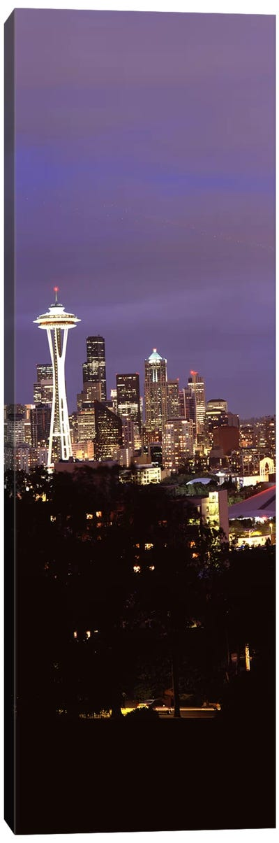 Skyscrapers in a city lit up at night, Space Needle, Seattle, King County, Washington State, USA Canvas Print #PIM8534