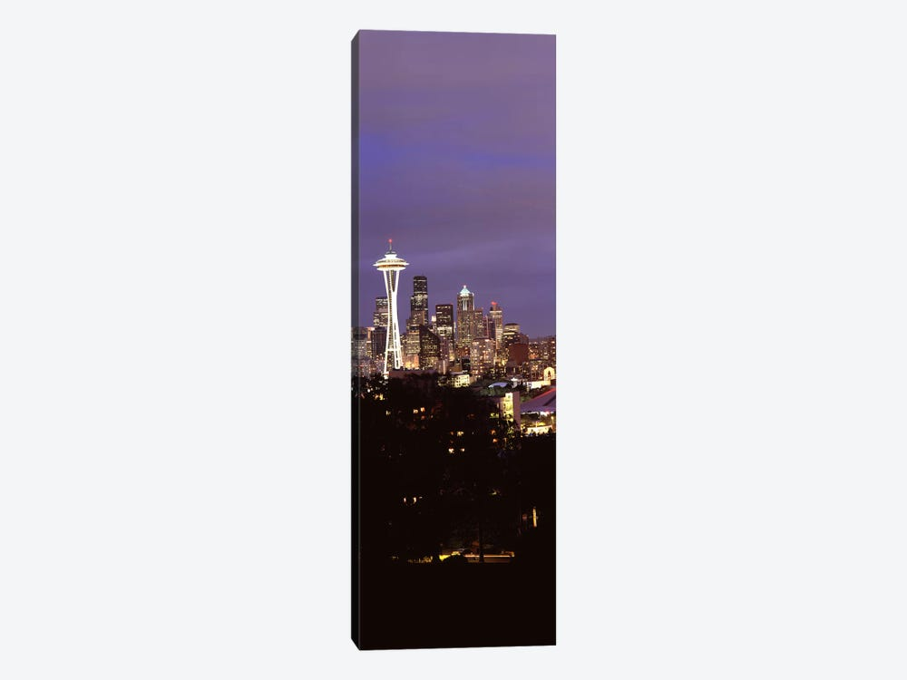 Skyscrapers in a city lit up at night, Space Needle, Seattle, King County, Washington State, USA by Panoramic Images 1-piece Canvas Artwork