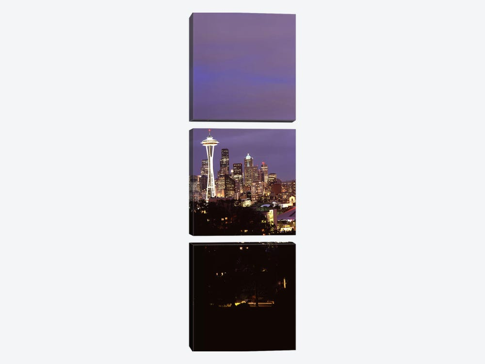 Skyscrapers in a city lit up at night, Space Needle, Seattle, King County, Washington State, USA by Panoramic Images 3-piece Canvas Artwork