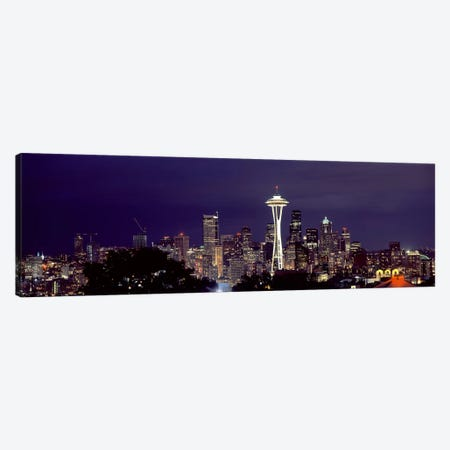 Skyscrapers in a city lit up at night, Space Needle, Seattle, King County, Washington State, USA 2010 Canvas Print #PIM8535} by Panoramic Images Canvas Artwork