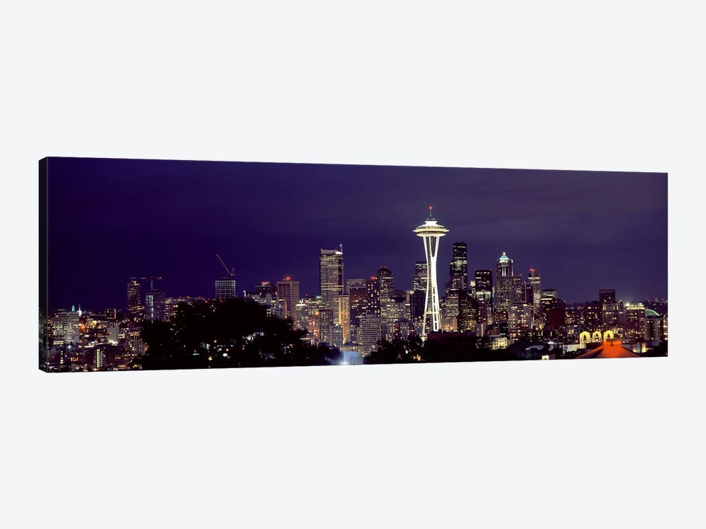 Skyscrapers in a city lit up at night, Space Needle, Seattle, King County, Washington State, USA 2010 by Panoramic Images 1-piece Canvas Print