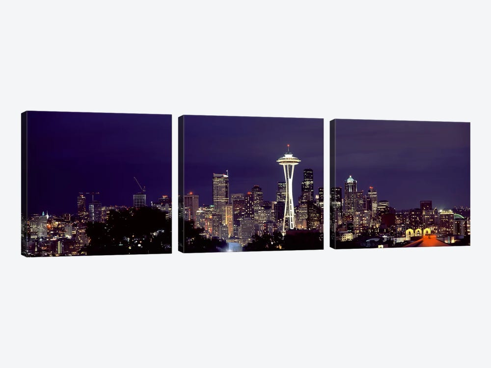 Skyscrapers in a city lit up at night, Space Needle, Seattle, King County, Washington State, USA 2010 by Panoramic Images 3-piece Art Print