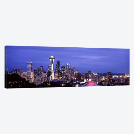 Skyscrapers in a city lit up at night, Space Needle, Seattle, King County, Washington State, USA 2010 #2 Canvas Print #PIM8536} by Panoramic Images Canvas Art