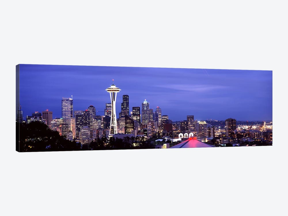 Skyscrapers in a city lit up at night, Space Needle, Seattle, King County, Washington State, USA 2010 #2 by Panoramic Images 1-piece Canvas Art