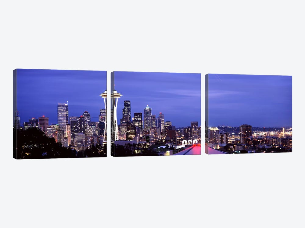 Skyscrapers in a city lit up at night, Space Needle, Seattle, King County, Washington State, USA 2010 #2 by Panoramic Images 3-piece Canvas Art