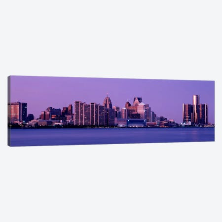USA, Michigan, Detroit, twilight Canvas Print #PIM853} by Panoramic Images Art Print