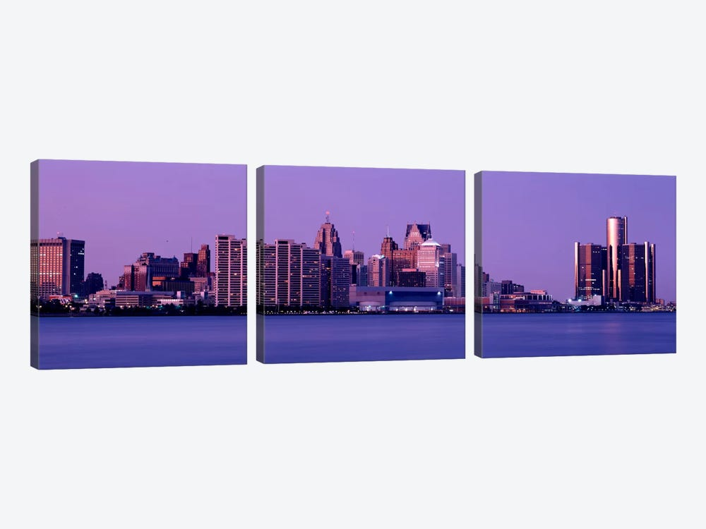 USA, Michigan, Detroit, twilight by Panoramic Images 3-piece Canvas Art Print