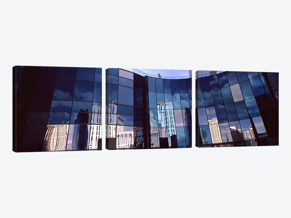 Reflection of skyscrapers in the glasses of a building, Citycenter, The Strip, Las Vegas, Nevada, USA by Panoramic Images 3-piece Canvas Print