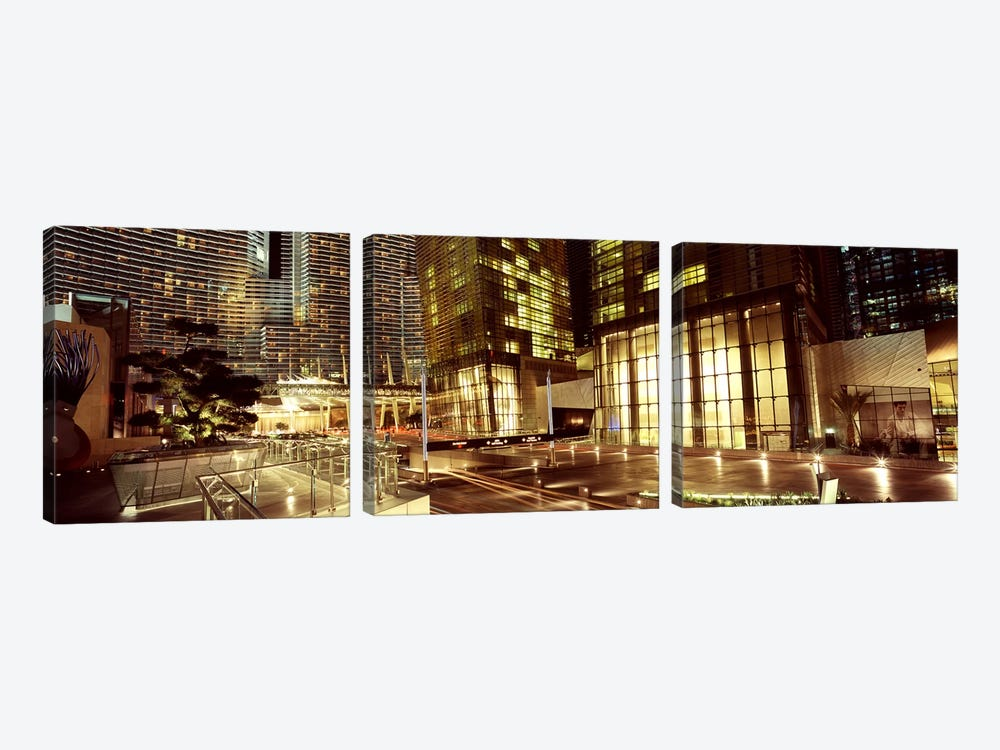 City lit up at night, Citycenter, The Strip, Las Vegas, Nevada, USA by Panoramic Images 3-piece Canvas Art