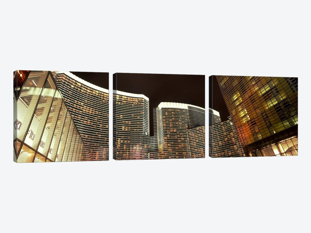 Skyscrapers lit up at night, Citycenter, The Strip, Las Vegas, Nevada, USA by Panoramic Images 3-piece Canvas Art Print