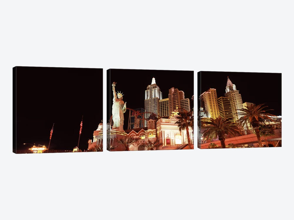 Low angle view of a hotel, New York New York Hotel, The Strip, Las Vegas, Nevada, USA by Panoramic Images 3-piece Canvas Artwork