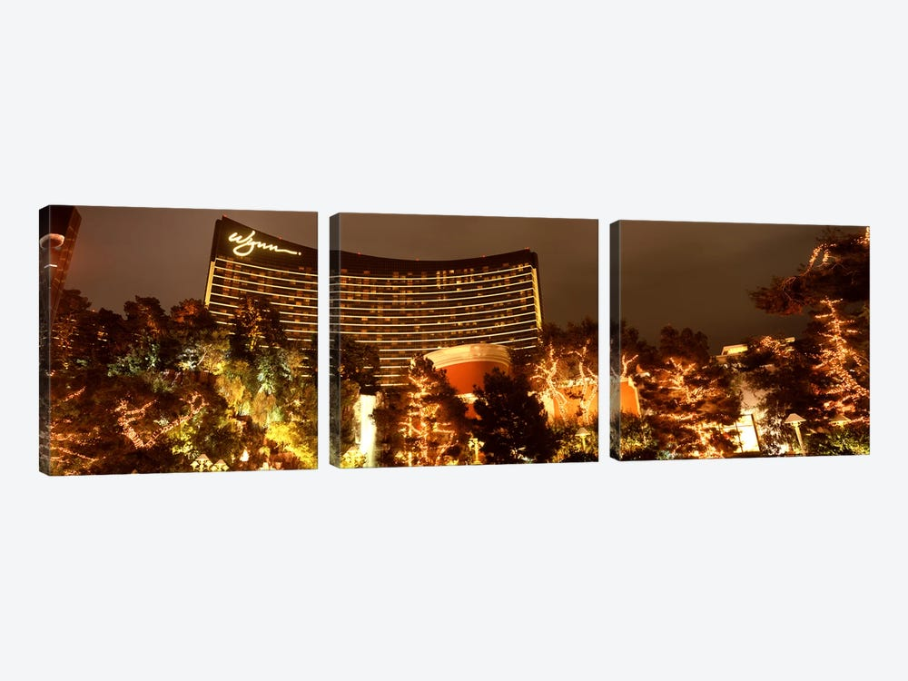 Hotel lit up at night, Wynn Las Vegas, The Strip, Las Vegas, Nevada, USA by Panoramic Images 3-piece Canvas Artwork
