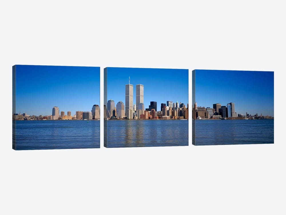 Skyscrapers at the waterfront, World Trade Center, Lower Manhattan, Manhattan, New York City, New York State, USA by Panoramic Images 3-piece Canvas Artwork