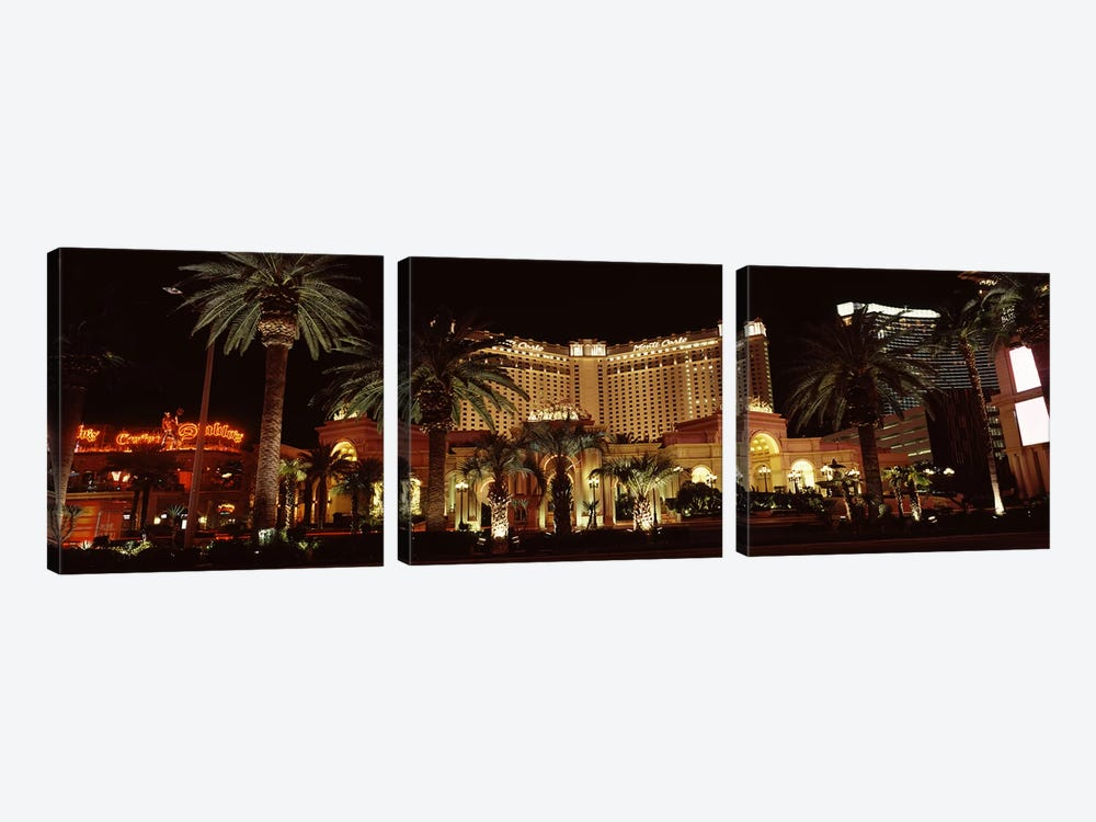 Hotel lit up at night, Monte Carlo Resort And Casino, The Strip, Las Vegas, Nevada, USA by Panoramic Images 3-piece Canvas Wall Art