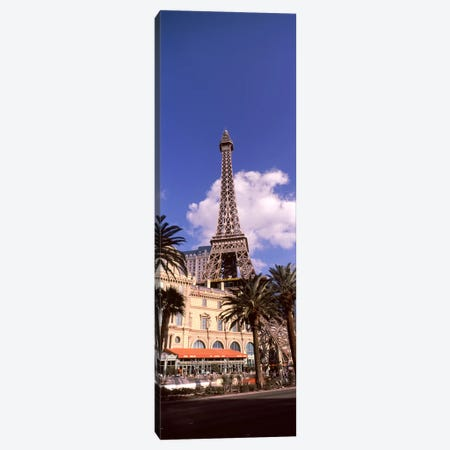 Low angle view of a hotel, Replica Eiffel Tower, Paris Las Vegas, The Strip, Las Vegas, Nevada, USA Canvas Print #PIM8552} by Panoramic Images Canvas Art Print