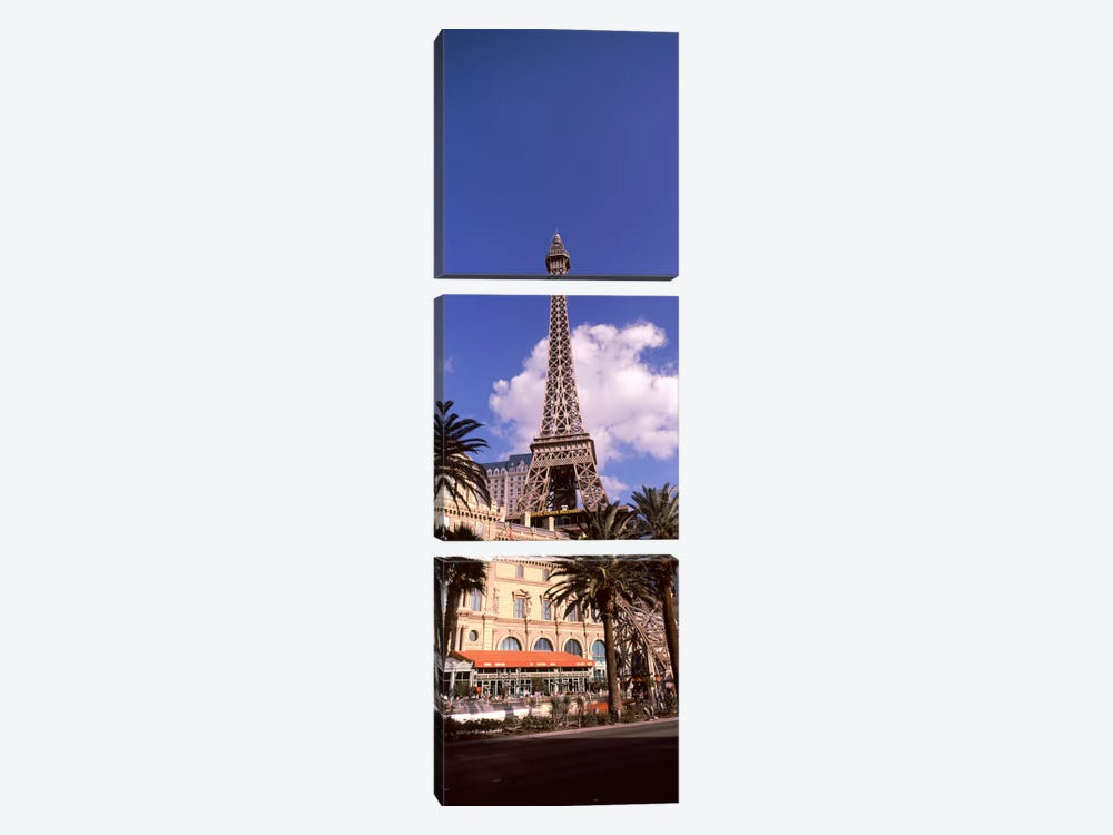 Low angle view of a hotel, Replica Eiffel Tower, Paris Las Vegas, The Strip, Las Vegas, Nevada, USA by Panoramic Images 3-piece Canvas Artwork