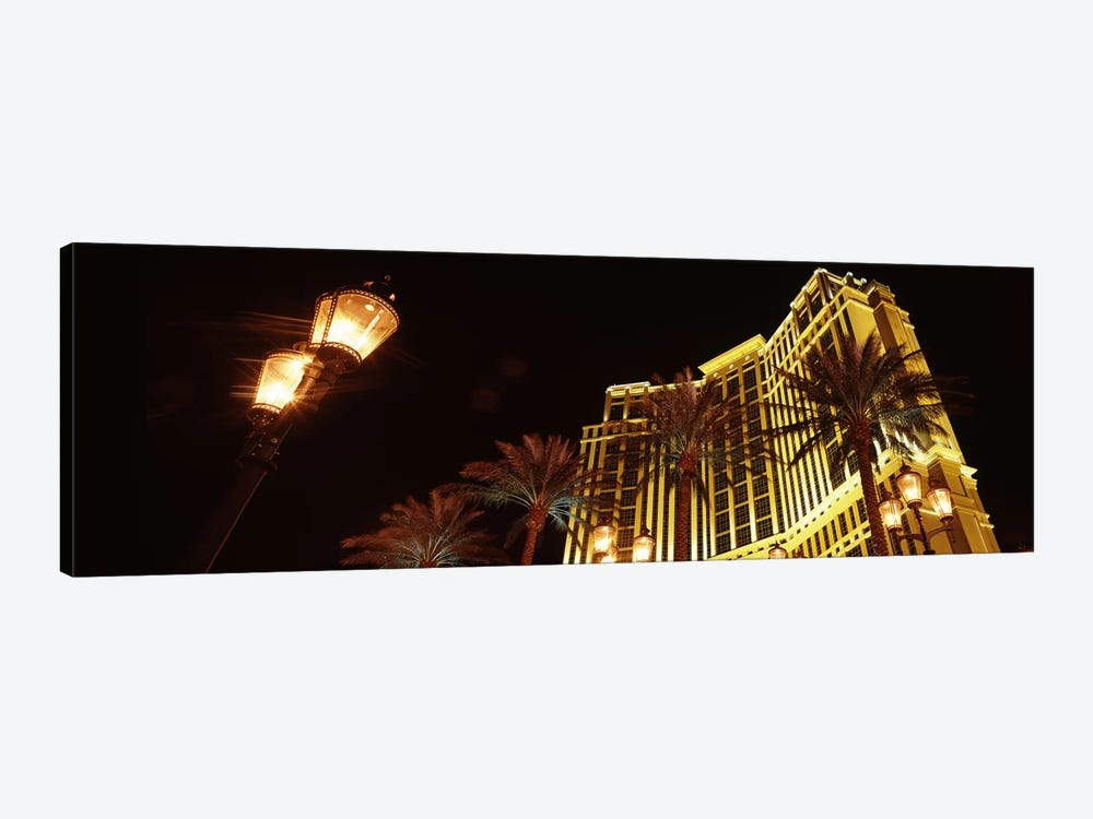 Low angle view of a hotel lit up at night, The Strip, Las Vegas, Nevada, USA by Panoramic Images 1-piece Canvas Print