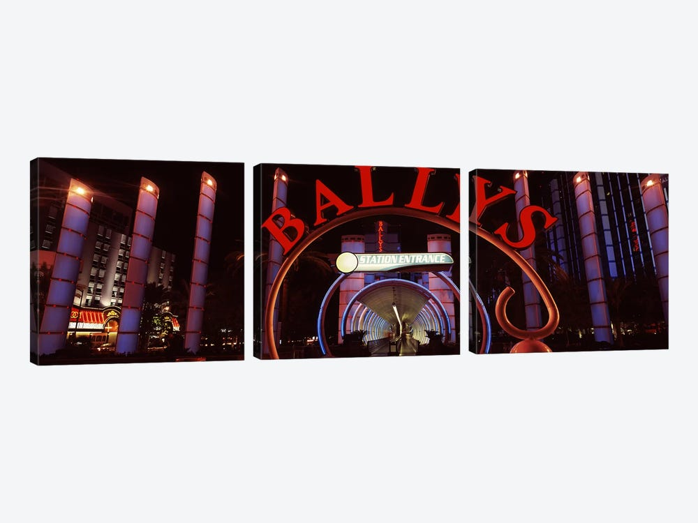 Neon sign of a hotel, Bally's Las Vegas, Monorail Station, The Strip, Las Vegas, Nevada, USA by Panoramic Images 3-piece Canvas Art