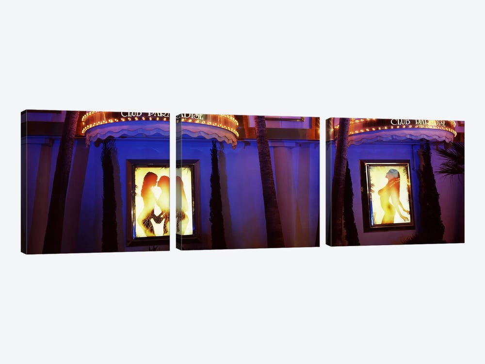 Strip club lit up at night, Las Vegas, Nevada, USA #2 by Panoramic Images 3-piece Canvas Wall Art