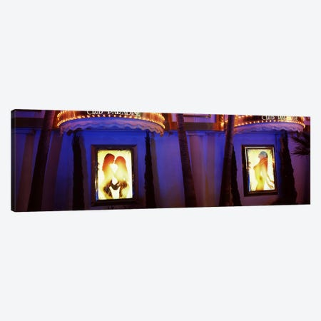 Strip club lit up at night, Las Vegas, Nevada, USA #2 Canvas Print #PIM8556} by Panoramic Images Canvas Wall Art
