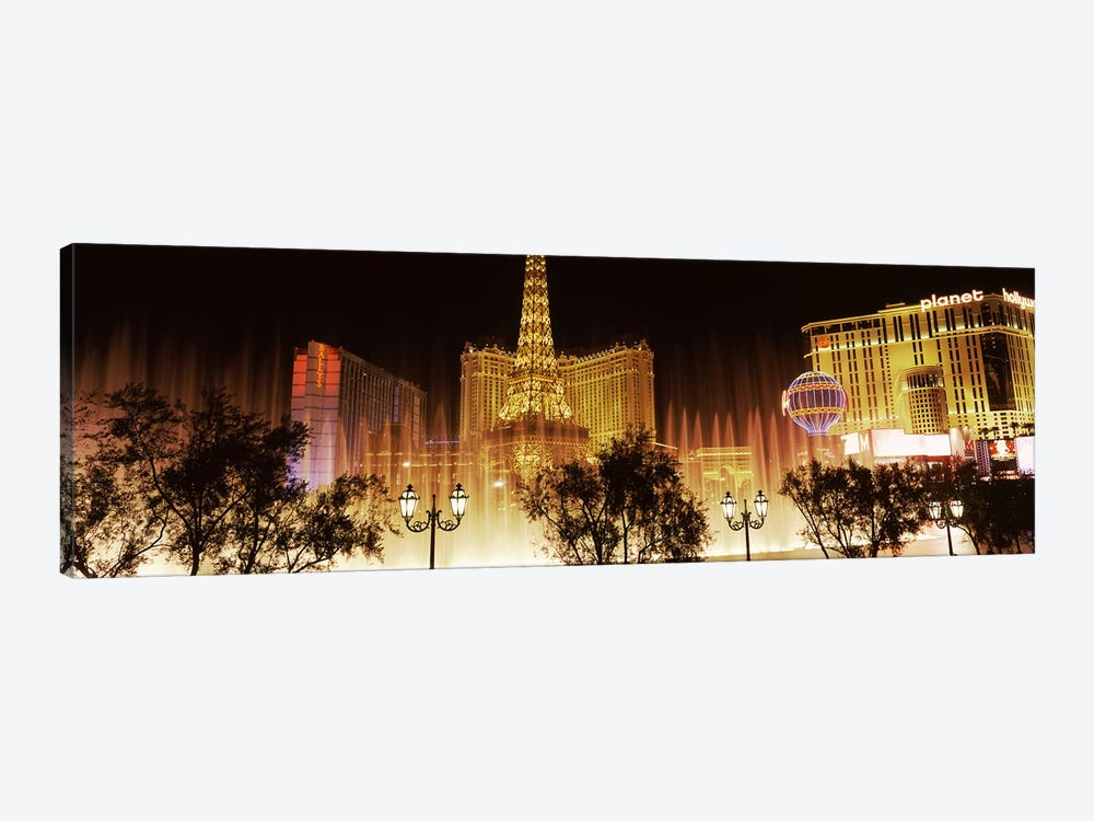 Hotels in a city lit up at night, The Strip, Las Vegas, Nevada, USA by Panoramic Images 1-piece Art Print