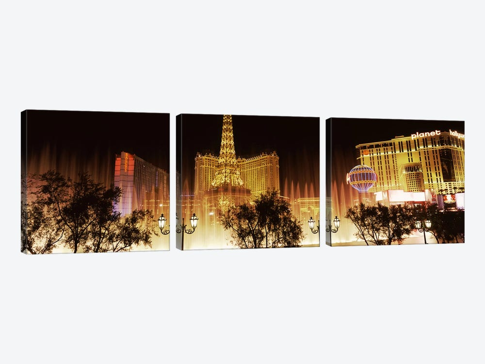 Hotels in a city lit up at night, The Strip, Las Vegas, Nevada, USA by Panoramic Images 3-piece Canvas Art Print