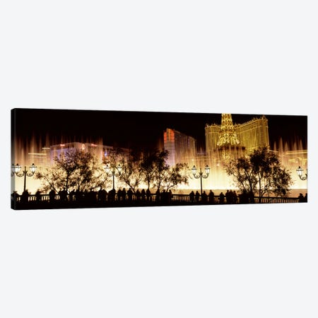 Hotels in a city lit up at night, The Strip, Las Vegas, Nevada, USA #2 Canvas Print #PIM8559} by Panoramic Images Art Print