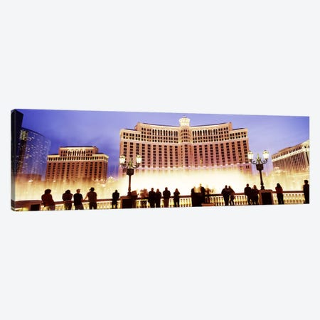 Hotel lit up at night, Bellagio Resort And Casino, The Strip, Las Vegas, Nevada, USA Canvas Print #PIM8561} by Panoramic Images Canvas Artwork
