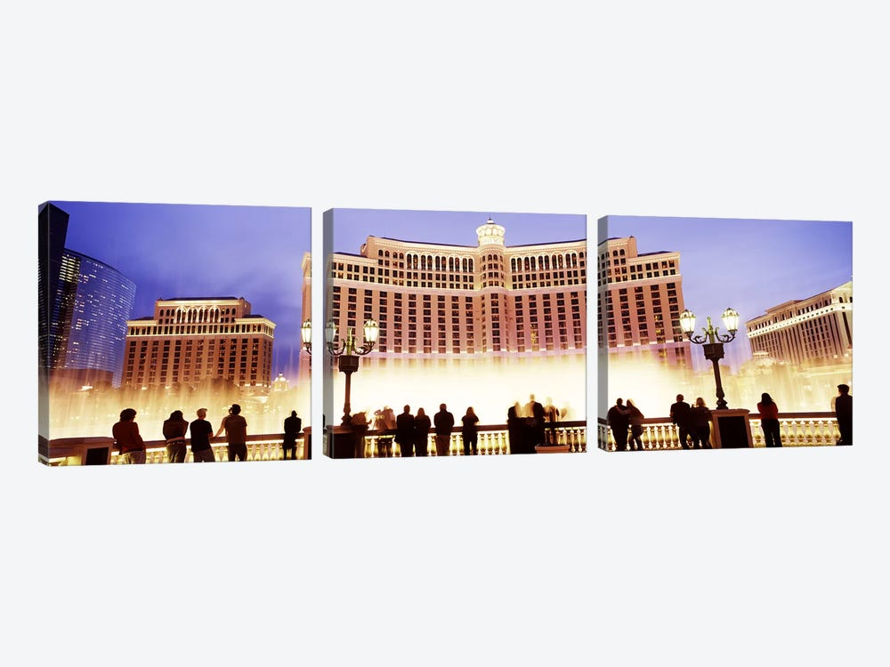 Hotel lit up at night, Bellagio Resort And Casino, The Strip, Las Vegas, Nevada, USA by Panoramic Images 3-piece Canvas Artwork