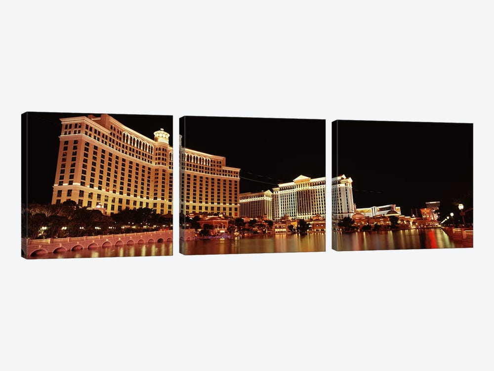 Hotel lit up at night, Bellagio Resort And Casino, The Strip, Las Vegas, Nevada, USA #2 by Panoramic Images 3-piece Canvas Artwork