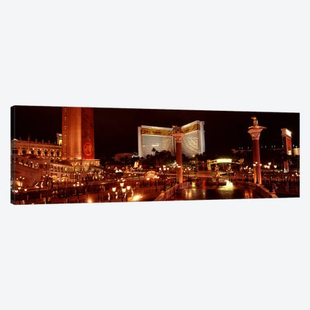 Hotel lit up at night, The Mirage, The Strip, Las Vegas, Nevada, USA Canvas Print #PIM8564} by Panoramic Images Art Print