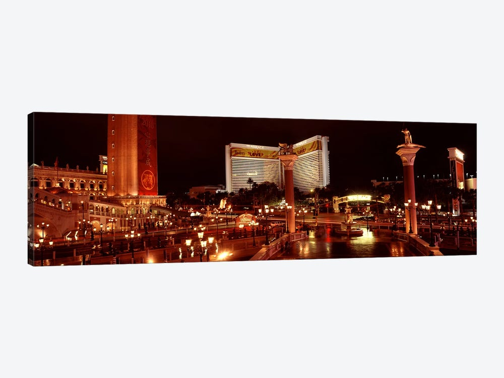 Hotel lit up at night, The Mirage, The Strip, Las Vegas, Nevada, USA by Panoramic Images 1-piece Canvas Art Print
