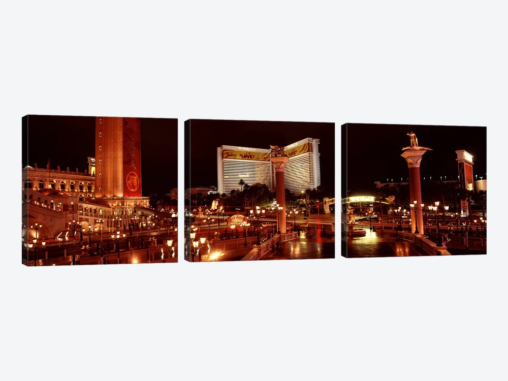 Hotel lit up at night, The Mirage, The Strip, Las Vegas, Nevada, USA by Panoramic Images 3-piece Art Print