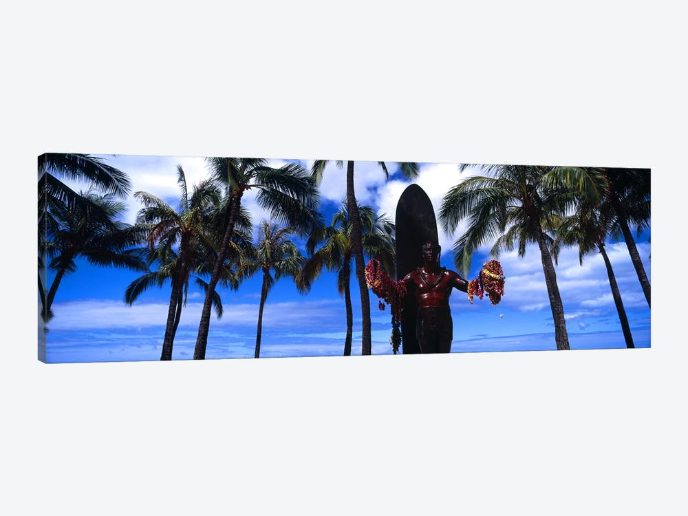 Statue of Duke Kahanamoku, Duke Kahanamoku Statue, Waikiki Beach, Honolulu, Oahu, Hawaii, USA by Panoramic Images 1-piece Canvas Art