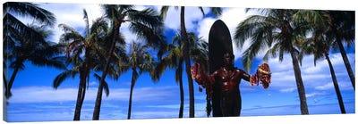 Statue of Duke Kahanamoku, Duke Kahanamoku Statue, Waikiki Beach, Honolulu, Oahu, Hawaii, USA Canvas Art Print