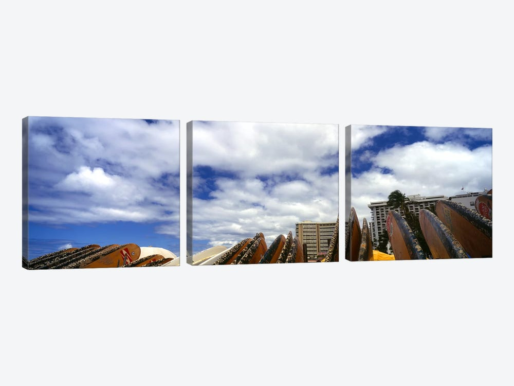 Low angle view of skyscrapers and surfboards, Honolulu, Oahu, Hawaii, USA by Panoramic Images 3-piece Art Print
