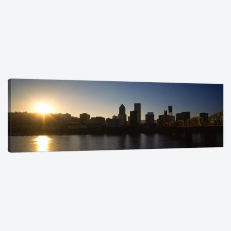 Buildings along the waterfront at sunset, Willamette River, Portland, Oregon, USA Canvas Print #PIM857} by Panoramic Images Canvas Wall Art