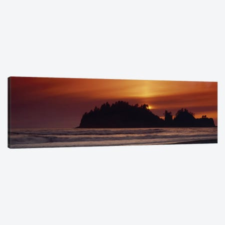 Silhouette of sea stack at sunrise, Washington State, USA Canvas Print #PIM8581} by Panoramic Images Canvas Art