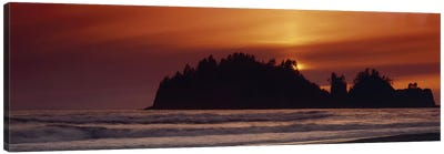 Silhouette of sea stack at sunrise, Washington State, USA Canvas Art Print