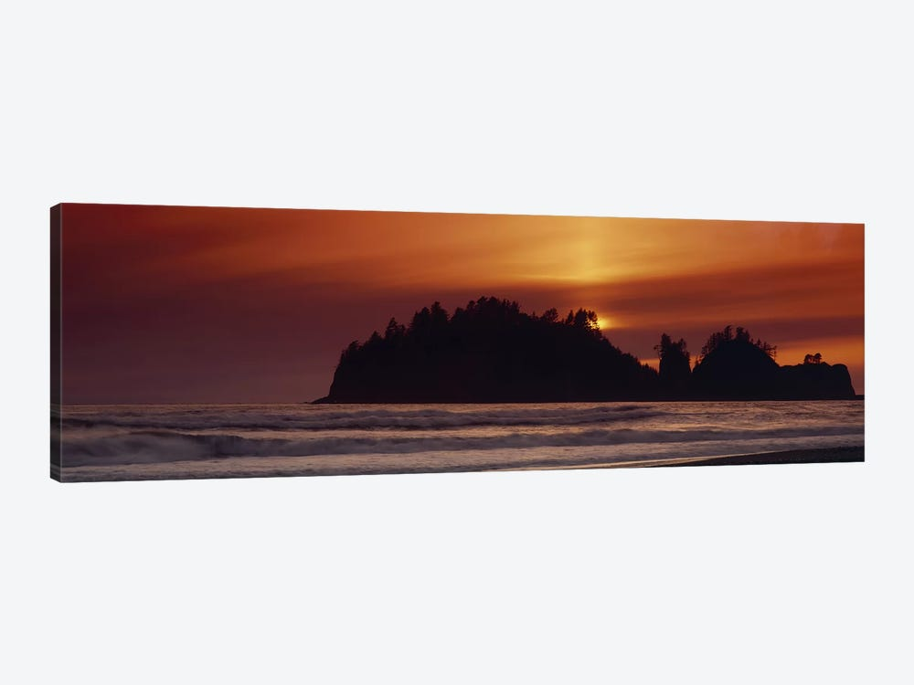 Silhouette of sea stack at sunrise, Washington State, USA by Panoramic Images 1-piece Canvas Wall Art